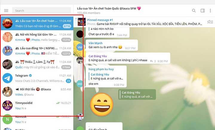 Group kín Sugar Baby trên Telegram